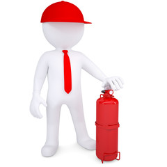 3d man with fire extinguisher