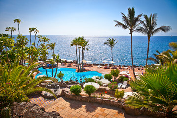 Panoramic view on Las Cuevitas in Costa Adeje cost, Tenerife