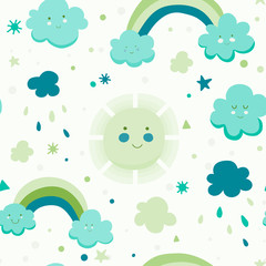 Cute seamless pattern with cloud, sun and rainbow