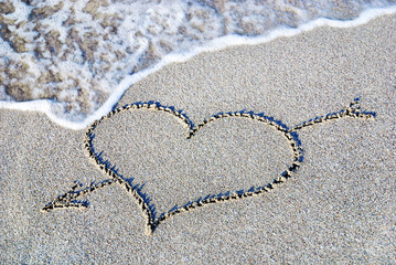 heart outline on beach sand against wave