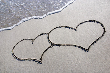 heart outline on beach sand with wave