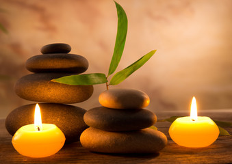 Spa still life with aromatic candles - fototapety na wymiar