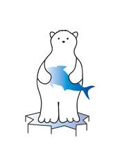 Eisbär mit Fisch