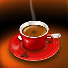 Tasse Kaffee, Mocca mit Kaffeebohnen frisch gebrüht
