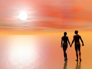 Couple romance - 3D render