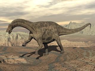 Dicraeosaurus dinosaur walking - 3D render