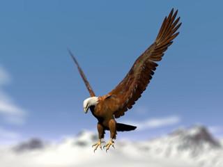 Eagle landing over snowy mountain - 3D render