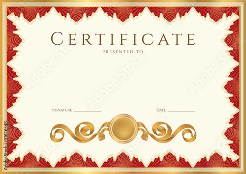 """Certificate / Diploma template. Red border. Guilloche ..."