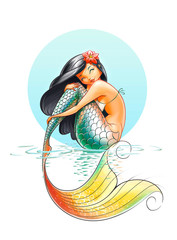Wall Murals Mermaid mermaid fairy-tale character illustration on white background