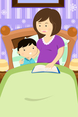 Mother reading a bedtime story