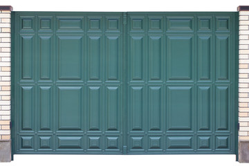 Modern blue green forged metal gates isolated on white backgroun
