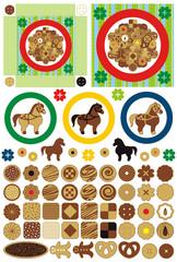 お菓子「かわいいクッキーとお皿」アイコンワンポイントイラスト素材集
