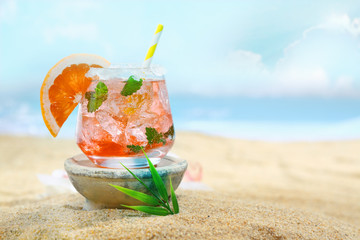 Delicious looking cocktail on the beach