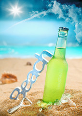 Chilled beer on the beach