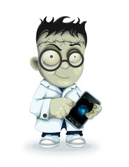 Professor Frankenstein with phone