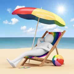 3d Man Lying on a Beach Chair with Umbrella near the Sea