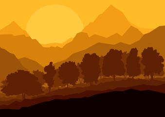 Wild mountain forest nature landscape scene background illustrat