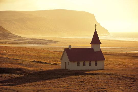 Typical Rural Icelandic Church at Sea Coastline