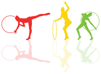 Rhythmic gymnastic background woman with hoop ring vector