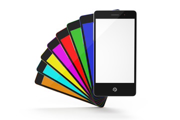 Set of color smartphones with a white screen isolated