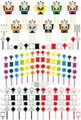 お正月凧揚げ「虹色7色連凧・和凧・六角凧・菱凧・奴凧」和風アイコンイラスト素材集