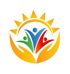 Teamwork hands and sun logo