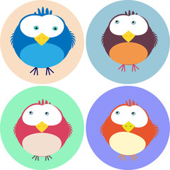 vier verschiedene Birdie Character
