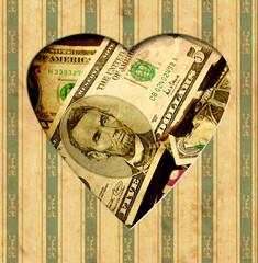Fond de hotte en verre imprimé Affiche vintage Vintage Heart - Dollar