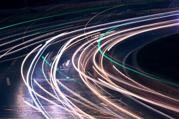 Urban road car light trails Fotomurales