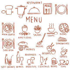 Various hand drawn restaurant menu elements