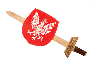 Wooden toy sword and shield a coat of arms of Poland