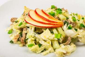 meat salad with  apples