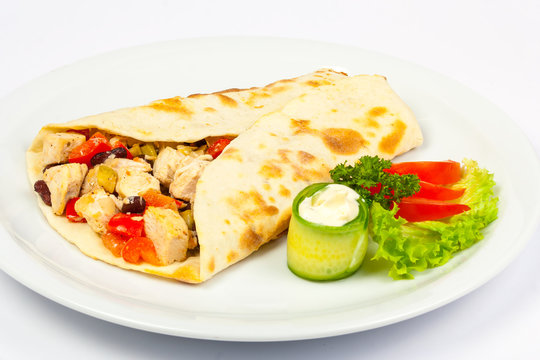 burrito with beans and chicken