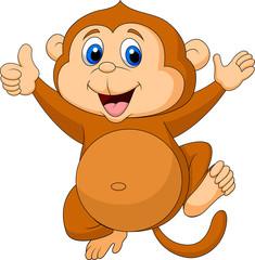 Cute monkey cartoon thumb up