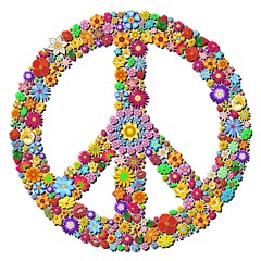 Wall Murals Draw Peace Symbol Groovy Flowers Design-Pace Simbolo Floreale