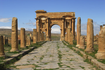 Photo on textile frame Algeria Arc de Trajan-Site de Timgad-Algerie