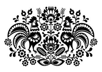 Polish floral embroidery with roosters pattern - fototapety na wymiar