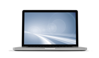 Laptop  with screensaver isolated on white, clipping path includ