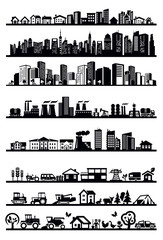 houses and city icons