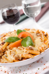 Pasta with meat and cheese sauce.