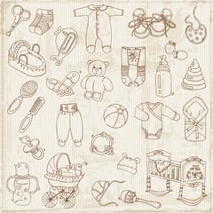 Scrapbook Design Elements - Baby Arrival Set - in vector