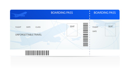 Blue boarding pass with aircraft (airplane / plane) silhouette