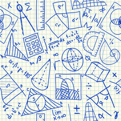 Mathematical doodles seamless pattern
