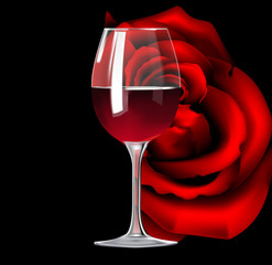Glass of red wine and rose