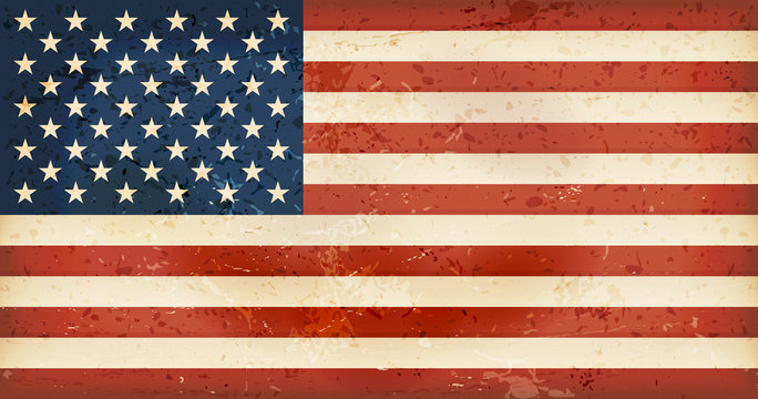 USA flag with grunge elements