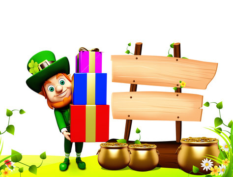 Leprechaun for st patrick day carring pile of gift