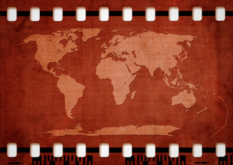 world map on filmstrip illustration