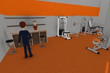 3d render of cartoon characters in gym