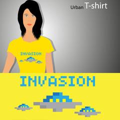 Wall Murals Pixel New T-shirt design with pixel art illustration