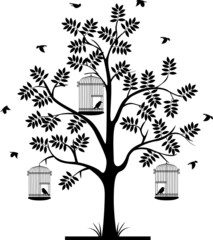Recess Fitting Birds in cages tree silhouette and flying bird's in the cage